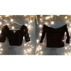 2 black off the shoulder 3/4 crop tops